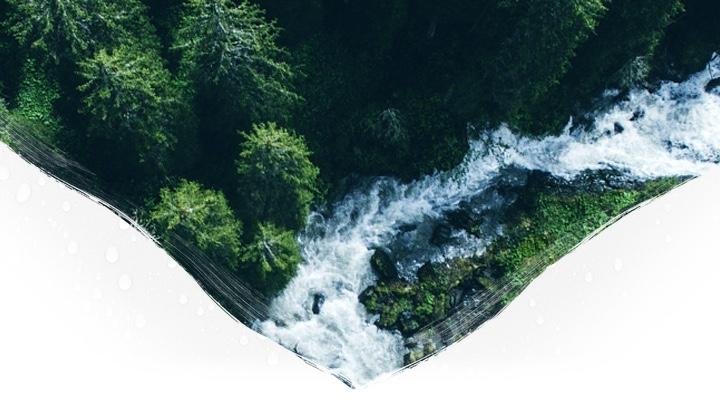 Rwący górski potok płynący przez las widziany z góry