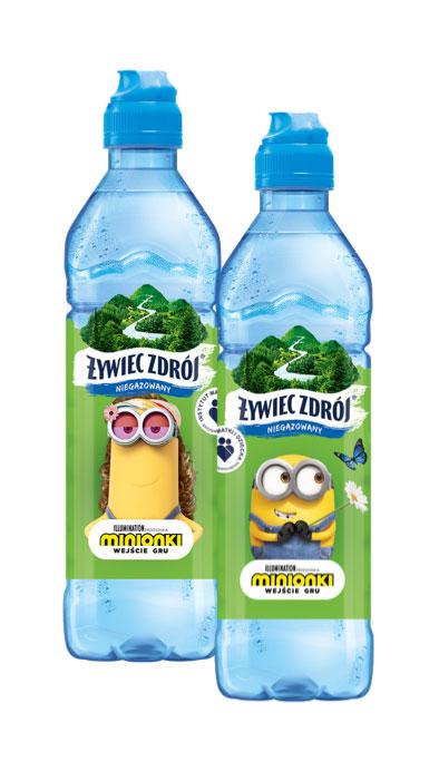 Dwie małe butelki wody Żywiec Zdrój niegazowanej dla dzieci z dziubkiem do picia