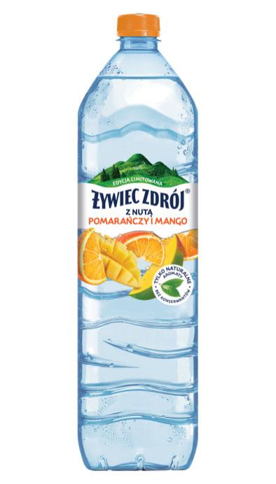 Woda Żywiec Zdrój z nutą pomarańczy i mango bez konserwantów, duża butelka