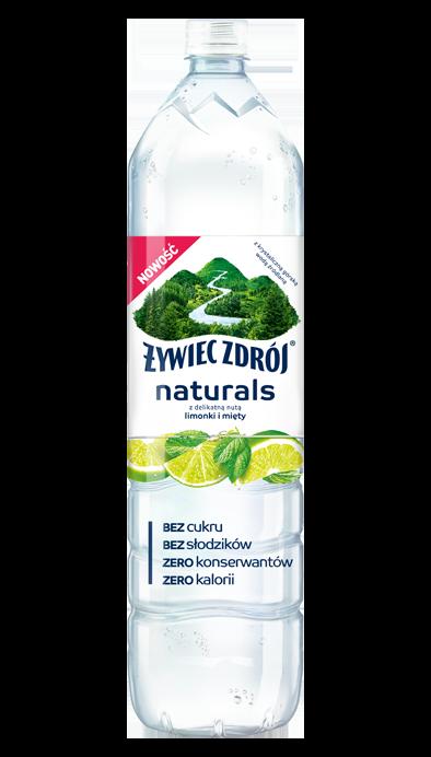 Woda Żywiec Zdrój Naturals z nutą limonki i mięty bez konserwantów, duża butelka